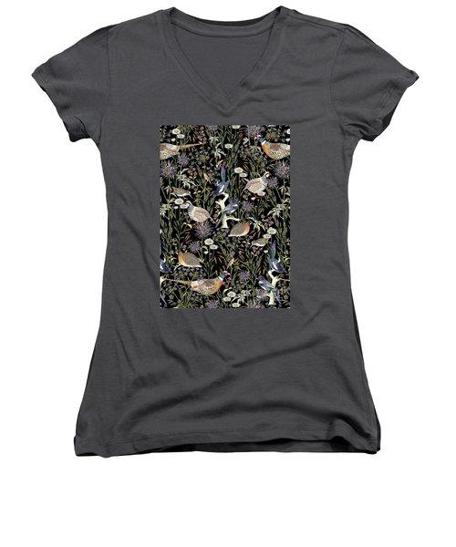 Woodland Edge Birds Women's V-Neck T-Shirt