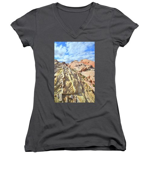 Yellow Brick Road In Valley Of Fire Women's V-Neck T-Shirt (Junior Cut) by Ray Mathis