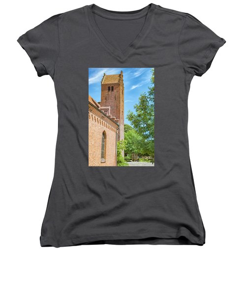 Women's V-Neck T-Shirt (Junior Cut) featuring the photograph Ystad Monastery In Sweden by Antony McAulay