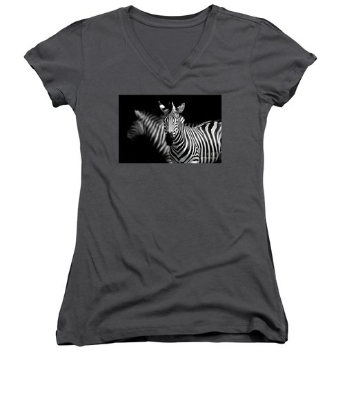 Women's V-Neck T-Shirt (Junior Cut) featuring the photograph Zebra by Charuhas Images