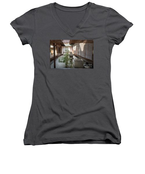 Zen Garden, Kyoto Japan Women's V-Neck T-Shirt