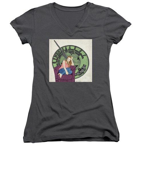 10 Months Women's V-Neck T-Shirt (Junior Cut) by Megan Dirsa-DuBois