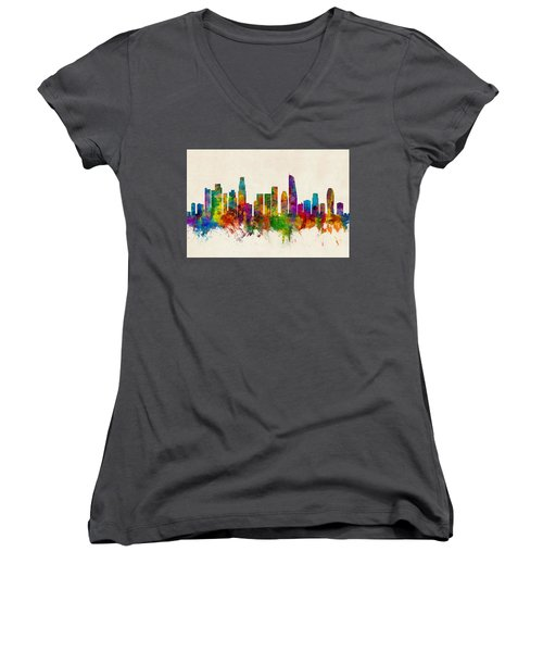 Los Angeles California Skyline Women's V-Neck T-Shirt (Junior Cut) by Michael Tompsett