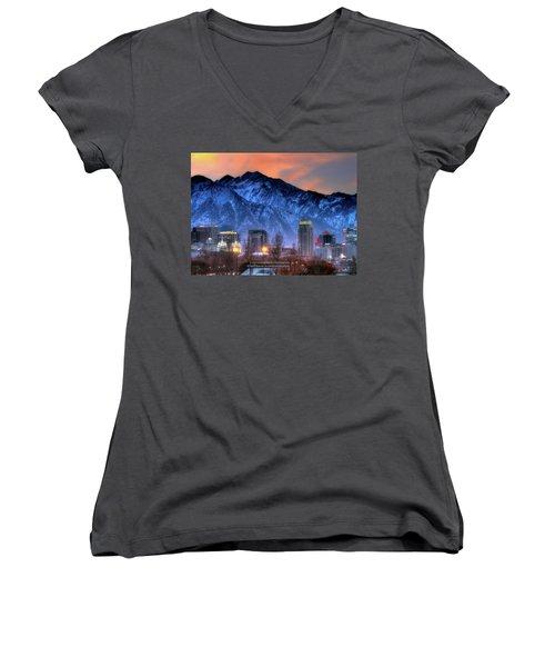 Salt Lake City Skyline Women's V-Neck T-Shirt (Junior Cut) by Utah Images