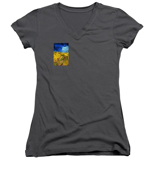 Wheatfield With Crows Women's V-Neck