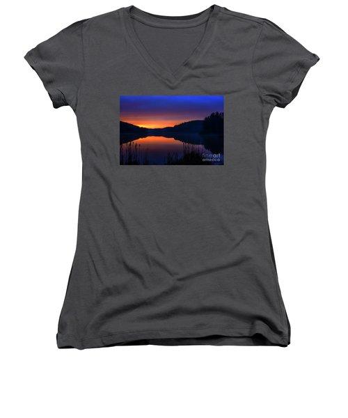 Women's V-Neck T-Shirt (Junior Cut) featuring the photograph Winter Dawn by Thomas R Fletcher