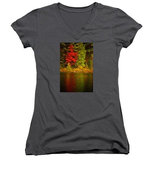 Fall Reflections Women's V-Neck T-Shirt (Junior Cut) by Andre Faubert