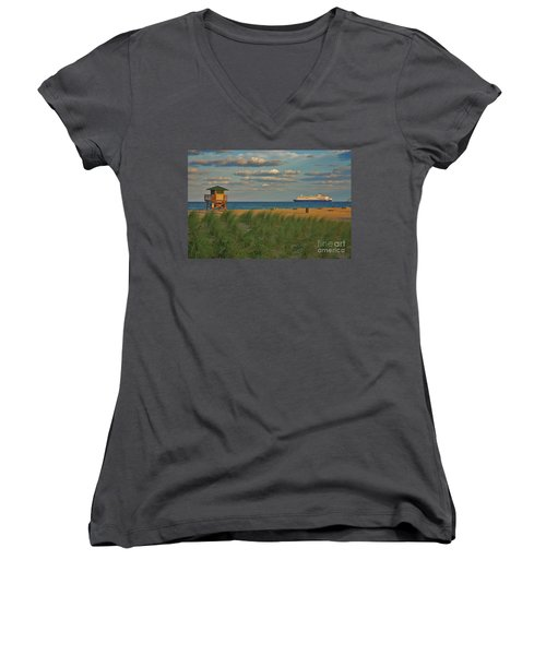 Women's V-Neck T-Shirt (Junior Cut) featuring the photograph 13- Cruising In Paradise by Joseph Keane