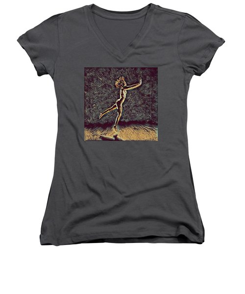 1302s-zak Naked Dancers Leap Nudes In The Style Of Antonio Bravo Women's V-Neck T-Shirt (Junior Cut) by Chris Maher