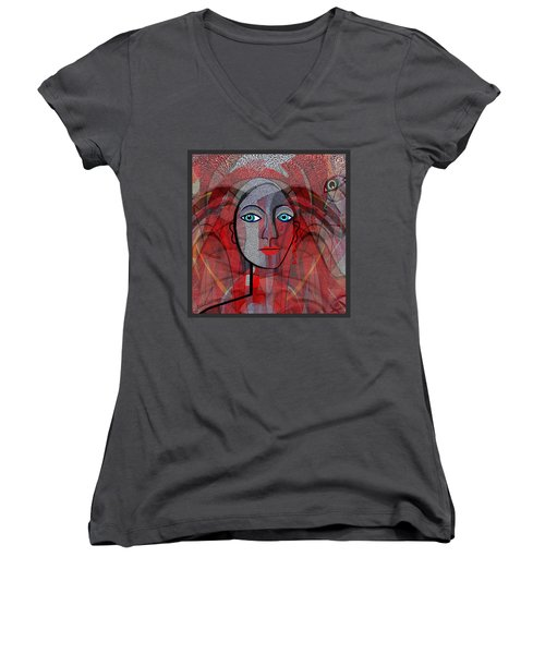 1459 Cubic Lady Face Women's V-Neck T-Shirt (Junior Cut) by Irmgard Schoendorf Welch