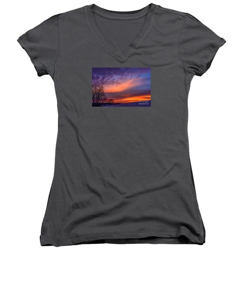 Dawn Of The Day Women's V-Neck T-Shirt (Junior Cut) by Thomas R Fletcher