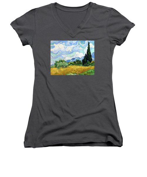 Wheat Field With Cypresses Women's V-Neck (Athletic Fit)