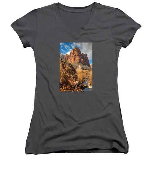Zion National Park Women's V-Neck T-Shirt (Junior Cut) by Utah Images
