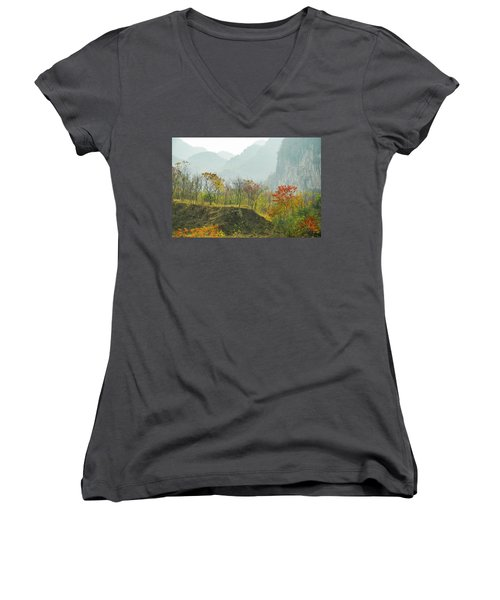 The Colorful Autumn Scenery Women's V-Neck