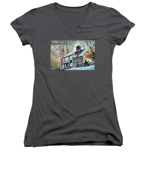 1700's Log House In West Chester, Pa Women's V-Neck (Athletic Fit)