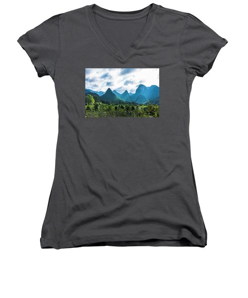 Countryside Scenery In Autumn Women's V-Neck