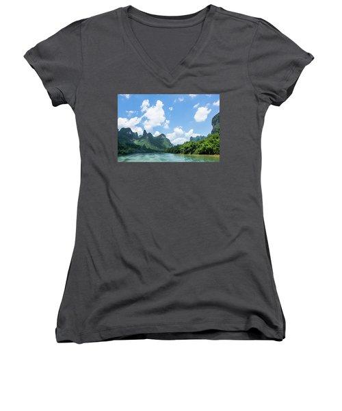 Lijiang River And Karst Mountains Scenery Women's V-Neck