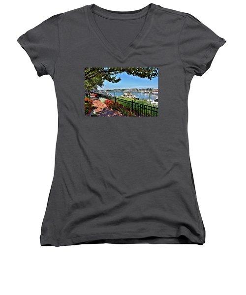 Women's V-Neck T-Shirt (Junior Cut) featuring the photograph 1812 Memorial Park - Lewes Delaware by Brendan Reals