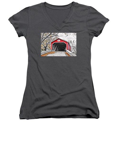 Women's V-Neck T-Shirt (Junior Cut) featuring the photograph 1839 Kreidersville Bridge by DJ Florek
