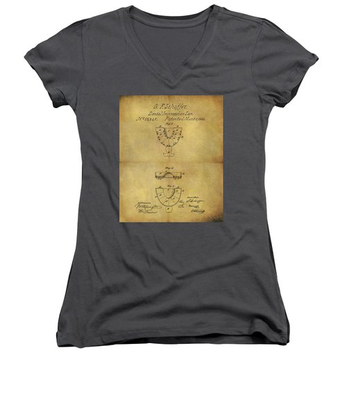 1866 Dental Mold Patent Women's V-Neck T-Shirt (Junior Cut) by Dan Sproul