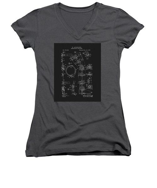 1897 Artificial Leg Patent Women's V-Neck T-Shirt (Junior Cut) by Dan Sproul
