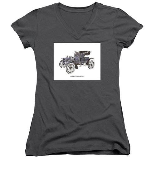 Women's V-Neck T-Shirt (Junior Cut) featuring the drawing 1906 Knox Model F 3 Surry by Jack Pumphrey