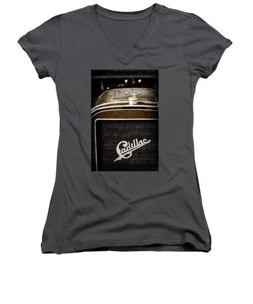 Women's V-Neck T-Shirt (Junior Cut) featuring the photograph 1907 Cadillac Model M Touring Grille Emblem -1106ac by Jill Reger