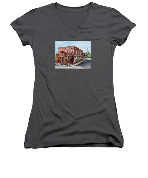 Women's V-Neck T-Shirt featuring the painting 1907 Restaurant And Bar - Ellijay, Ga - Historical Building by Jan Dappen