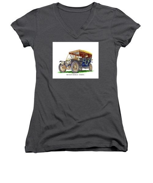 Women's V-Neck T-Shirt (Junior Cut) featuring the painting 1910 Knox Model R 5 Passenger  Touring Automobile by Jack Pumphrey