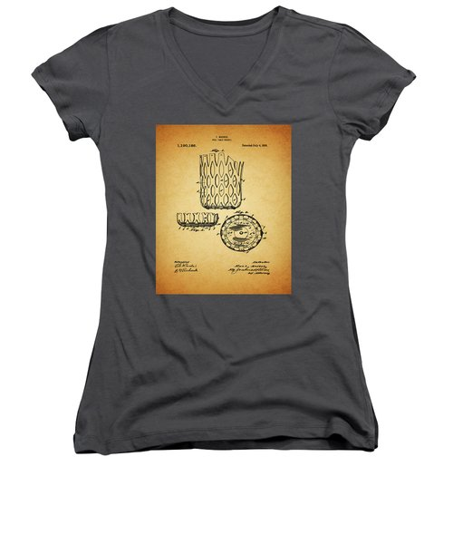 Women's V-Neck T-Shirt (Junior Cut) featuring the mixed media 1916 Pool Table Pocket Patent by Dan Sproul