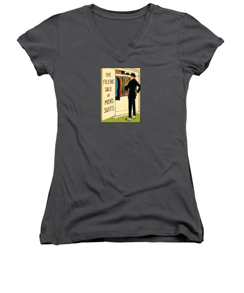 Women's V-Neck T-Shirt (Junior Cut) featuring the painting 1920 Mens's Suites On Sale by Historic Image
