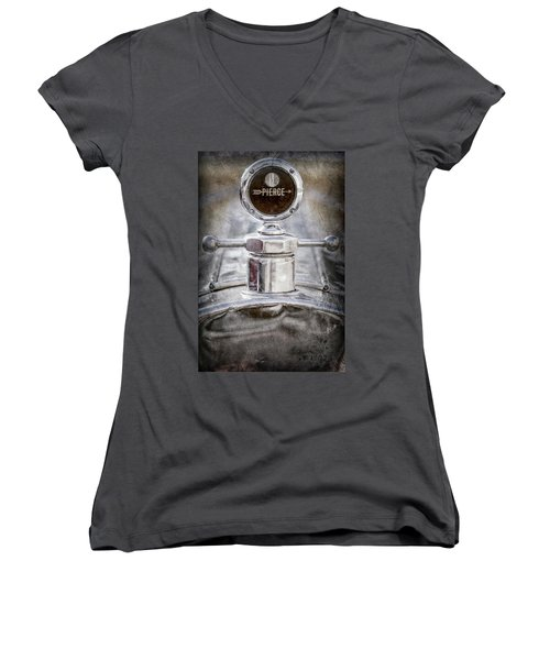 Women's V-Neck T-Shirt (Junior Cut) featuring the photograph 1920 Pierce-arrow Model 48 Coupe Hood Ornament -2829ac by Jill Reger
