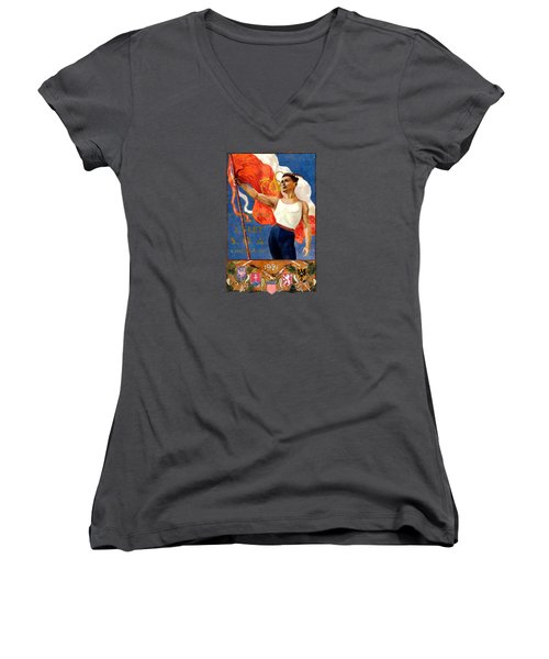 1921 Czech Sokol Of Chicago  Women's V-Neck T-Shirt (Junior Cut) by Historic Image
