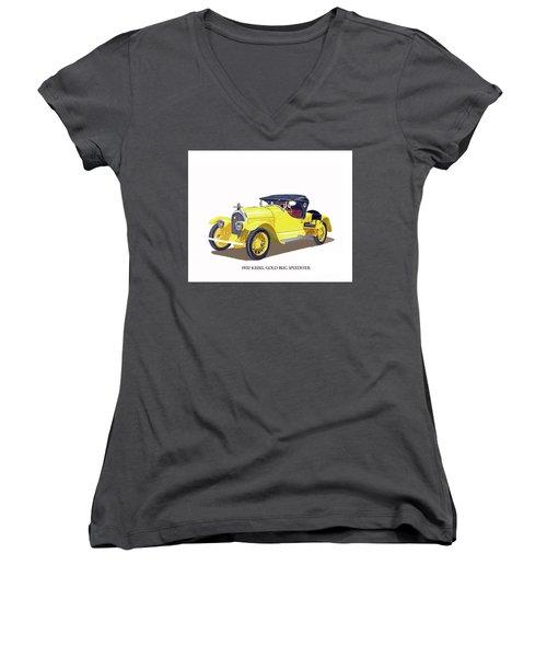 Women's V-Neck T-Shirt (Junior Cut) featuring the painting 1923 Kissel Kar  Gold Bug Speedster by Jack Pumphrey