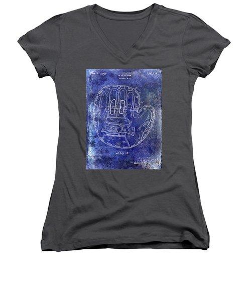 1925 Baseball Glove Patent Blue Women's V-Neck T-Shirt