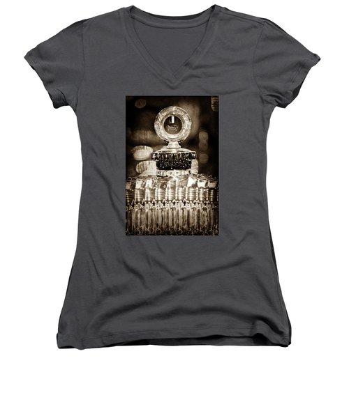 Women's V-Neck T-Shirt (Junior Cut) featuring the photograph 1928 Daimler Hood Ornament - Moto Meter -0616s by Jill Reger
