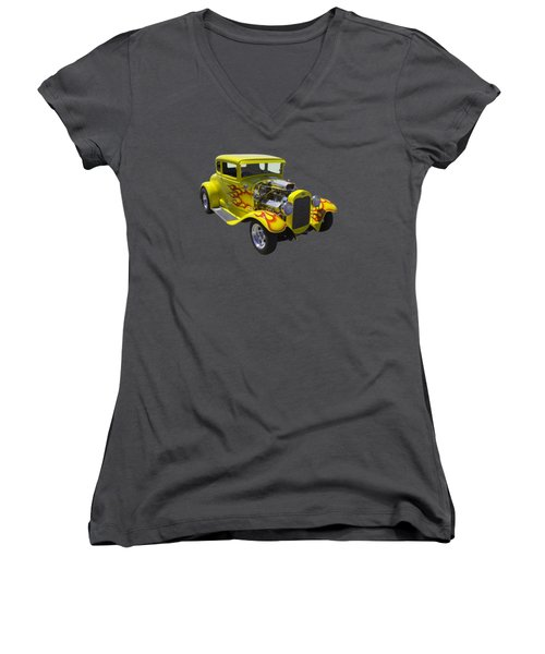 1930 Model A Custom Hot Rod Women's V-Neck T-Shirt (Junior Cut) by Keith Webber Jr