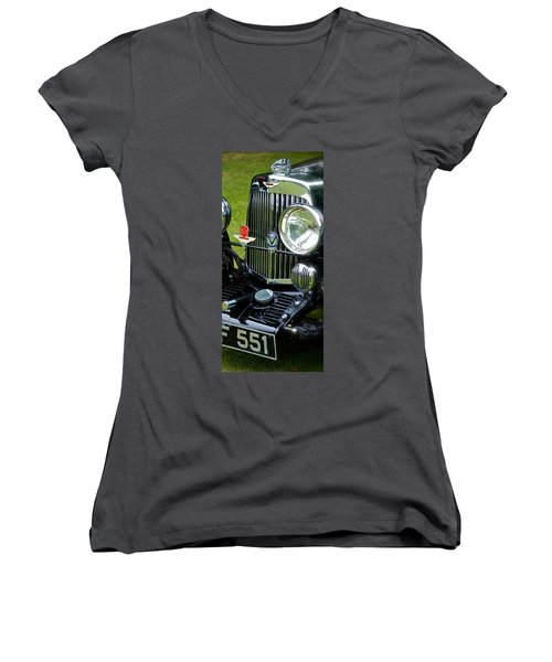 1930s Aston Martin Front Grille Detail Women's V-Neck T-Shirt (Junior Cut) by John Colley