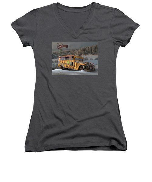 Women's V-Neck T-Shirt (Junior Cut) featuring the digital art 1931 Ford School Bus by Stuart Swartz