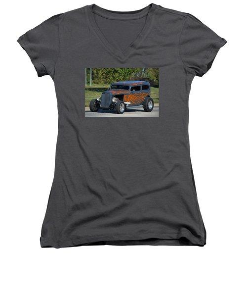 1933 Ford Sedan Hot Rod Women's V-Neck