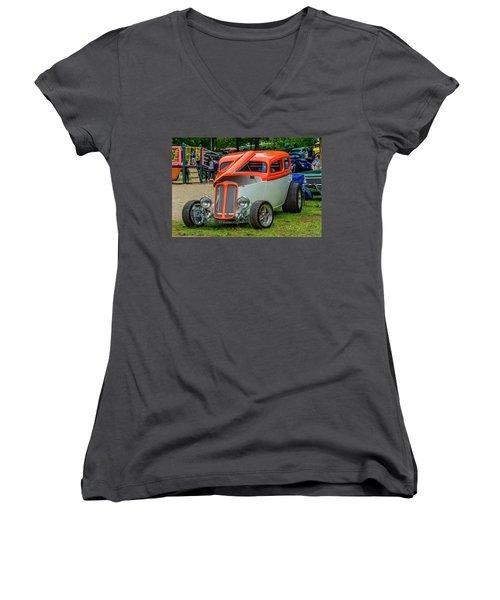 1933 Pontiac Sedan Street Rod Women's V-Neck T-Shirt (Junior Cut) by Ken Morris