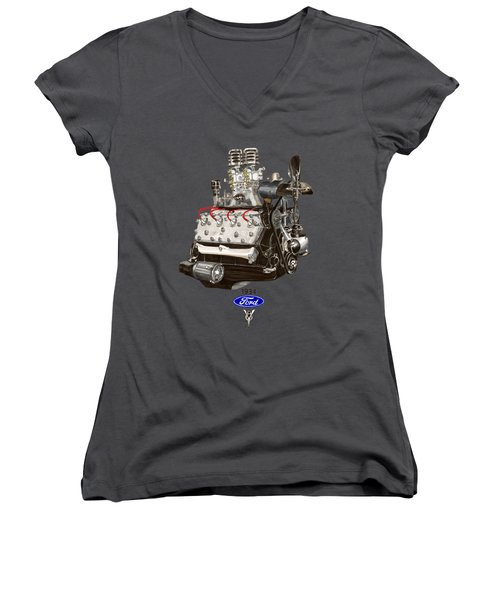 1934 Ford Flathead V 8 Tee Shirt Women's V-Neck T-Shirt