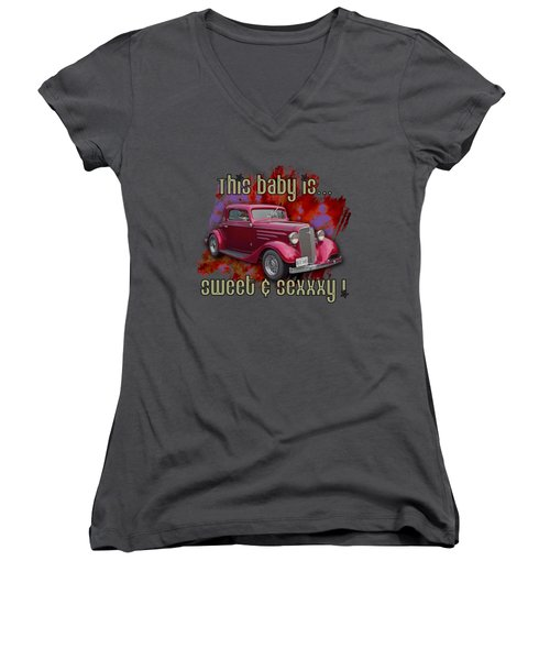 1935 Chev 3 Widow Coupe Women's V-Neck T-Shirt