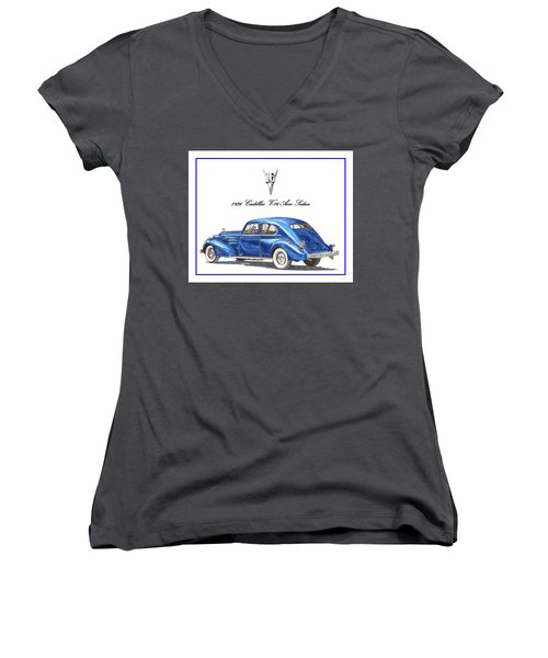 Women's V-Neck T-Shirt (Junior Cut) featuring the painting 1936 Cadillac V-16 Aero Coupe by Jack Pumphrey