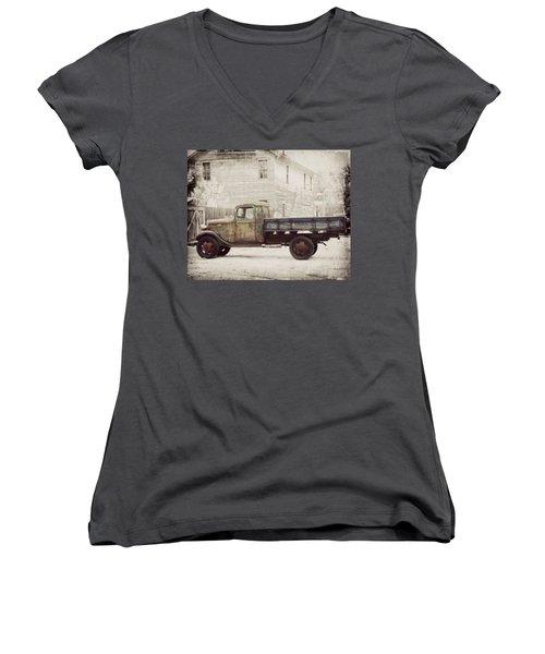 1936 Chevy High Cab -2 Women's V-Neck T-Shirt
