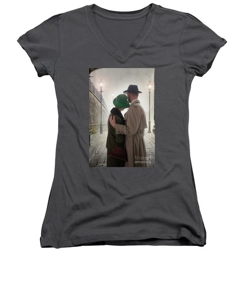1940s Couple At Dusk  Women's V-Neck T-Shirt (Junior Cut) by Lee Avison