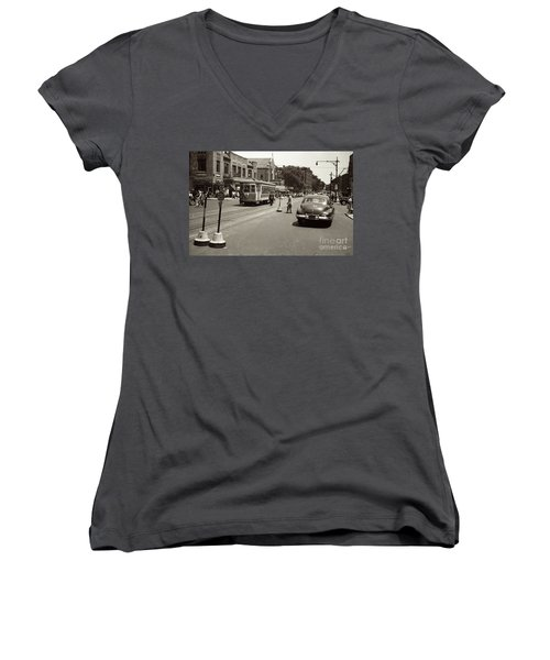 Women's V-Neck T-Shirt featuring the photograph 1940's Inwood Trolley by Cole Thompson