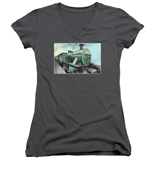 1940's Steam Train Women's V-Neck T-Shirt (Junior Cut) by Marty Garland