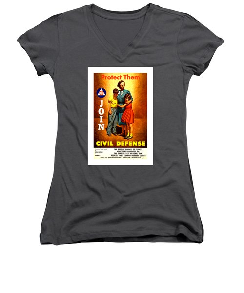 1942 Civil Defense Poster II By Charles Coiner Women's V-Neck T-Shirt (Junior Cut) by Peter Gumaer Ogden Collection