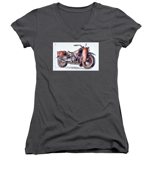 1942 Harley Davidson, Military, 750cc Women's V-Neck
